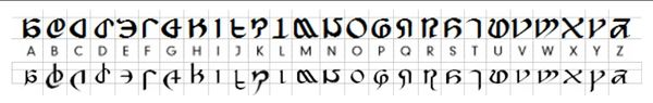The Eorzean Alphabet. Note: lower case letters 'j' and 'x' are speculation